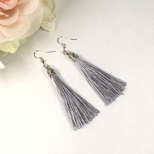 Jewelry - Gray Tassel Drop Earrings